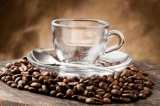 Free Empty Glass Cup On Coffee Beans Stock Photo - 18974840