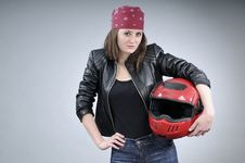 Free Motorcyclist Woman Posing Stock Photo - 18974970