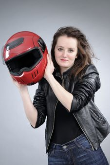 Free Motorcyclist Arranging Helmet Stock Photos - 18974983
