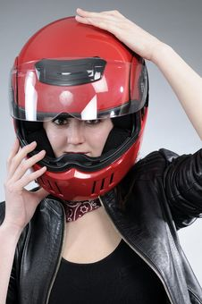 Free Biker Arranging Helmet Royalty Free Stock Image - 18975016