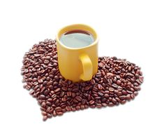 Free Ceramic Mug And A Heart Of Coffee Beans Stock Photo - 18975020