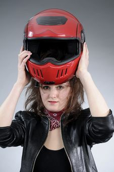 Free Woman Arranging Helmet Royalty Free Stock Photos - 18975058