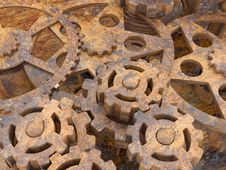 Free Mechanism Of Gears Rusted Royalty Free Stock Photography - 18975087