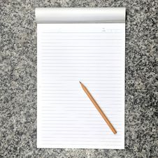 Blank Open Notebook And Pencil Royalty Free Stock Photos