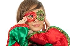 Girl With Colorful Mask Stock Images