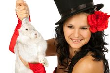 Magician With  Bunny Royalty Free Stock Photography