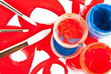 Three Brushes And Tubes With Paint Royalty Free Stock Photography