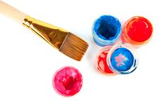 Free Brush And Colorful Paints Royalty Free Stock Images - 18976859