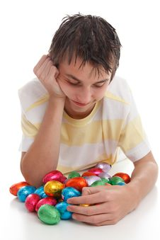 Free Boy With Lots Of Easter Eggs Royalty Free Stock Images - 18977339