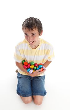 Free Boy Holding Lots Of Easter Eggs Royalty Free Stock Photo - 18977395
