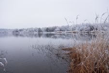 Free Frozen Thawing Lake In Snow Landscape Royalty Free Stock Photography - 18977517
