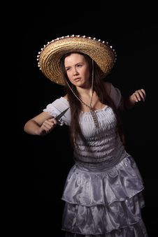 Mexican Girl With A Knife Royalty Free Stock Photo