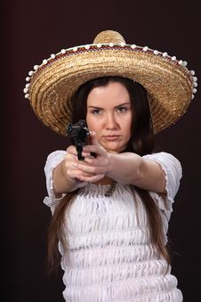 Mexican Girl Hold Revolver Stock Photo
