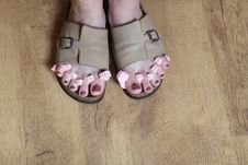 Female Feet In Sandal. Stock Images