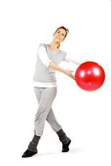 Free Girl Playing With A Red Ball 2 Stock Image - 18979911