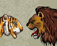 Free Tiger & Lion Royalty Free Stock Photos - 18980338