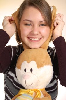 Free Teenager And Her Rabbit Stock Images - 18980544