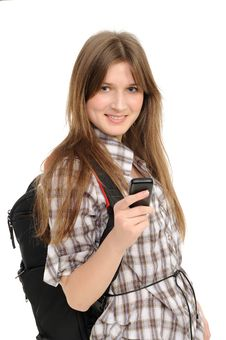 Free Young Woman Using Cell Phone Royalty Free Stock Image - 18980756