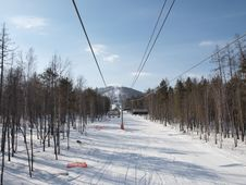 Free Ski Lift On The Slope Of A Forested Royalty Free Stock Images - 18981269