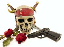 Skull With A Pistol And Dried Roses Stock Images