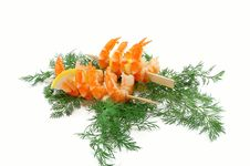 Free Ready Shrimps On Skewers Royalty Free Stock Photography - 18981787