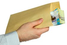 Envelope With Kazakh Money In Hand Royalty Free Stock Images