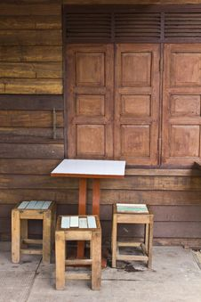 Wooden Tables And Chairs Royalty Free Stock Photos