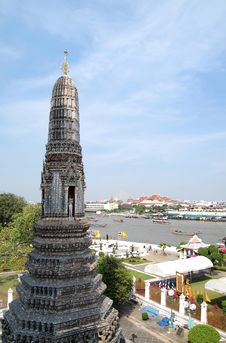 Top Of Wat Arun Temple In Bangkok , Thailand Royalty Free Stock Photos