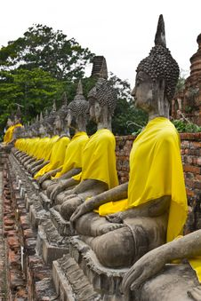 Free Row Of Sacred Buddha Images Stock Image - 18982601