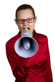 Free Screaming Woman With Megaphone Royalty Free Stock Image - 18982696