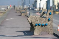 Free A Concrete Seat Situated On A Deserted Promenade Royalty Free Stock Photos - 18983688
