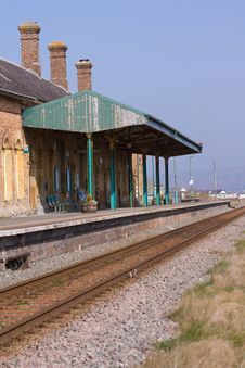 Deserted Rural Railway Station Stock Photography