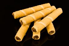Wafer Rolls Stock Photo