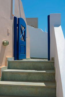 Beautiful Empty Street In Santorini Royalty Free Stock Photos