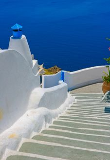 Beautiful Empty Street In Santorini Stock Image