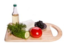 Free Vegetables, Cheese And Oil On The Cutting Board Royalty Free Stock Photography - 18984667