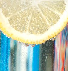Lemon Slice With Bubbles Stock Image