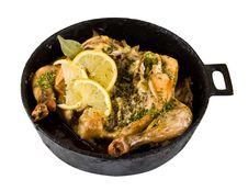 Free Baked Chicken In A Pan With A White Background Royalty Free Stock Photo - 18985535