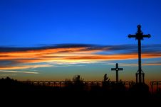 Free Crosses At Sunset Royalty Free Stock Images - 18985689