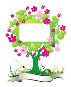 Free Spring Card With Tree Royalty Free Stock Image - 18985796