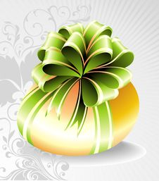 Free Easter Egg With Green Bow Stock Images - 18985844