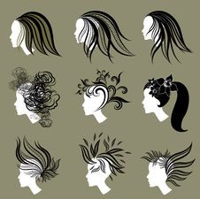 Free Vector Set Of Vintage Girls Hair From Leafs Royalty Free Stock Photos - 18986198