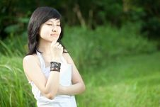 Beautiful Asian Girl Laughing Outdoors Stock Photo