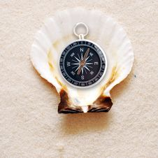 Free Compass In Shell Stock Images - 18986704