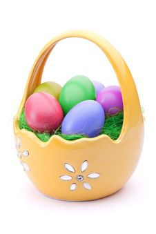 Free Eggs In Easter Basket Stock Image - 18986941