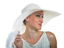 Smiling Girl In White Hat Royalty Free Stock Image