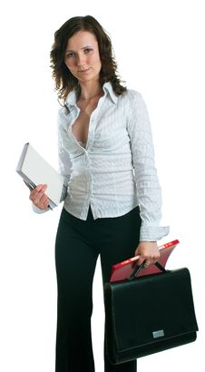 Women In A Business Suit With Documents Royalty Free Stock Photos