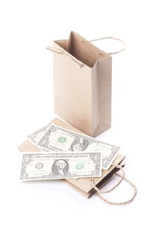 Free Bags With Dollar Bills. Stock Images - 18988024