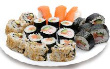 Different Types Of Maki Sushi In Sushi Set Royalty Free Stock Photo