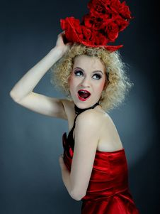 Free Beautiful Show Cabaret Girl With Stage Make-up Royalty Free Stock Photos - 18989268